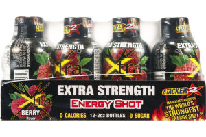 Stacker 2 Extra Strength Energy Shot Xtra Berry - 12 CT
