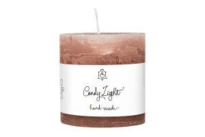 Свеча Candy Light цилиндр роз-коричн С07*07/1-7.1