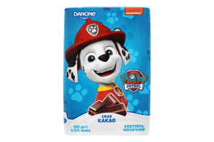 Коктейль молочний 2.5% Какао Paw Patrol Danone т/п 212г