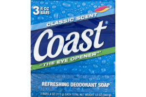 Coast Refreshing Deodorant Soap Classic Scent - 3 CT