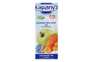 Сік для дітей від 4міс морквяно-яблучний з м'якоттю Карапуз т/п 200мл