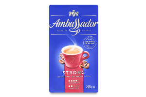 Кава натуральна смажена мелена Strong Ambassador в/у 225г