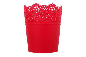 Горшок д/цвет Prosperplast Lace круг малин 140мм