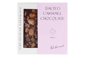 Шоколад з солоною карамеллю карамелізованими пластівцями та фундуком Spell к/у 100г