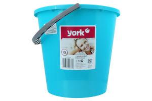 York Відро 10 л кругле NY SPRING, 280 x 250 x 290 мм, лазурне з сірим