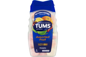 Tums Ultra Strength 1000 Assorted Fruit Antacid/Calcium Supplement Chewable Tablets - 72 CT