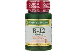 Nature's Bounty Vitamin B-12 5000 MCG Quick Dissolve - 40 CT