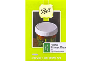 Ball Plastic Storage Caps Wide Mouth - 8 CT