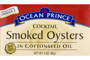 Ocean Prince Cocktail Smoked Oysters in Cottonseed Oil