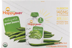 HappyBaby Organics Organic Baby Food Starting Solids 1 Green Beans - 8 CT