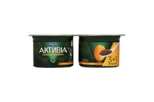 Біфідойогурт 3% Активіа курага-льон стакан 115гх4 МР