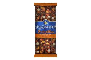 Шоколад молочний з мигдалем, цілими лісовими горіхами, курагою та родзинками Fruits&Nuts Millennium м/у 90г