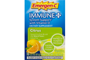 Emergen-C Immune + System Support With Vitamin D Dietary Supplement Packets Citrus - 10 CT