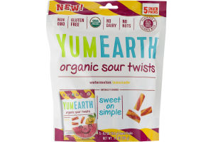 YumEarth Organic Sour Twists Watermelon Lemonade - 5 CT