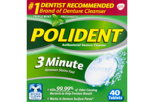 Polident Antibacterial Denture Cleanser 3 Minute Triple Mint Freshness - 40 CT