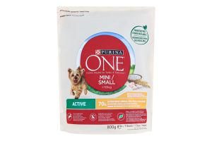 Корм сухой для собак Курица-рис Mini Small Purina One д/п 800г