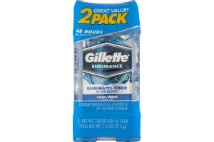 Gillette Endurance Cool Wave Clear Gel Anti-Perspirant/Deodorant - 2 PK