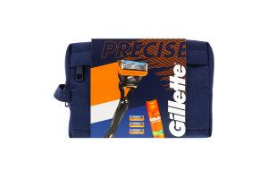 Набір подарунковий Бритва з 4 змінними касетами+Гель для гоління Ultra Sensitive 200мл+сумка Fusion5 Gillette 1шт