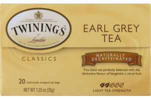 Twinings of London Classics Earl Grey Tea Naturally Decaffeinated - 20 CT