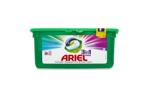 Средство моющее синтетическое жидкое в растворимых капсулах Color 3 in 1 Pods Ariel 30шт