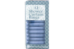 Royal Crest Shower Curtain Rings Blue - 12 CT
