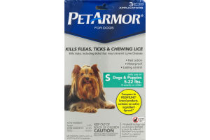 PetArmor Fleas, Ticks & Chewing Lice Control Applicators for Small Dogs & Puppies (5-22 lbs.) - 3 CT