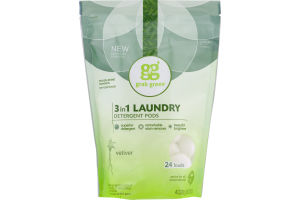 Grab Green 3 in 1 Laundry Detergent Pods Vetiver - 24 CT