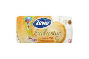 Туалетная бумага 4-х слойная Almond Milk Exclusive Zewa 8шт
