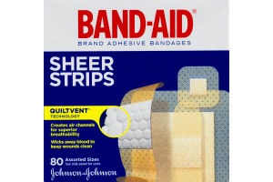 Band-Aid Sheer Strips Assorted Sizes - 80 CT
