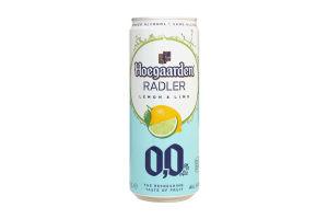 Пиво 330мл 0% Hoegaarden Lemon&Lime ж/б