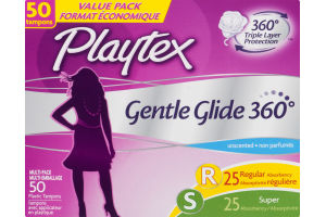 Playtex Gentle Glide 360 Degrees Unscented Multi-Pack Plastic Tampons - 50 CT