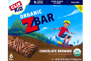 Clif Kid Organic Z Bar Chocolate Brownie Baked Whole Grain Energy Snack - 6 CT