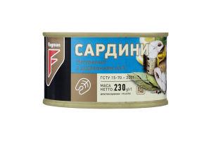 Сардины натуральные с добавлением масла Flagman ж/б 230г