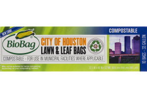 BioBag Compostable City of Houston 33 Gallon Lawn & Leaf Bags - 10 CT