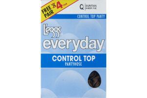 L'eggs Everyday Q Suntan Sheer Toe Control Top Pantyhose - 4 CT