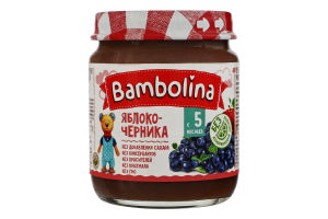 Пюре для дітей від 5міс Яблуко-чорниця Bambolina с/б 100г