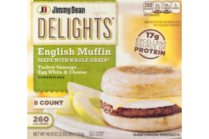 Jimmy Dean Delights English Muffin Sandwiches Turkey Sausage, Egg White & Cheese - 8 CT