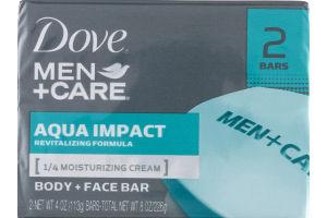 Dove Men+Care Aqua Impact Body + Face Bar - 2 CT