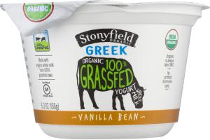 Stonyfield Organic Greek 100% Grassfed Whole Milk Yogurt Vanilla Bean