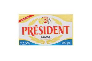 Масло 72.5% кислосливочное несоленое President м/у 200г