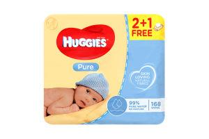 Серветки Huggies Pure вологі для дітей 168шт х10