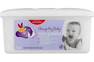 Always My Baby Baby Wipes Thick & Gentle Unscented - 72 CT