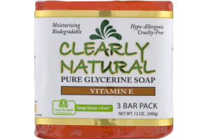 Clearly Natural Pure Glycerine Soap Vitamin E - 3 PK
