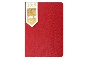 Ежедневник дат. 2019 WILD soft, A6, 336 стр., красный