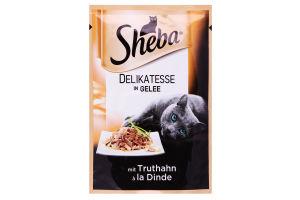 Корм для взрослых котов с индейкой в желе Sheba м/у 85г