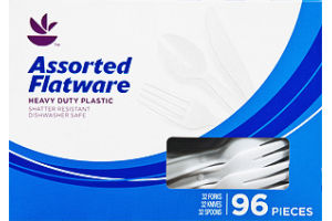 Ahold Heavy Duty Plastic Assorted Flatware - 96 CT