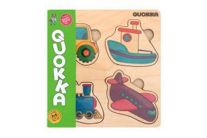Пазл-вкладыш деревянный для детей от 1года QUOKA016FP 4 транспорта Quokka 1шт