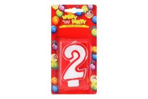 Свічка-цифра для торту глазурована 7.5см №P52-618/2 Happy Party Помічниця 1шт