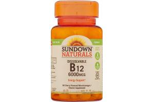 Sundown Naturals B12 6000mcg Dissolvable Microlozenges Cherry Flavored - 60 CT