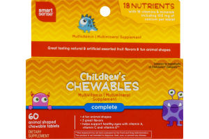 Smart Sense Children's Chewables Complete Multivitamin Animal Shaped Tablets - 60 CT